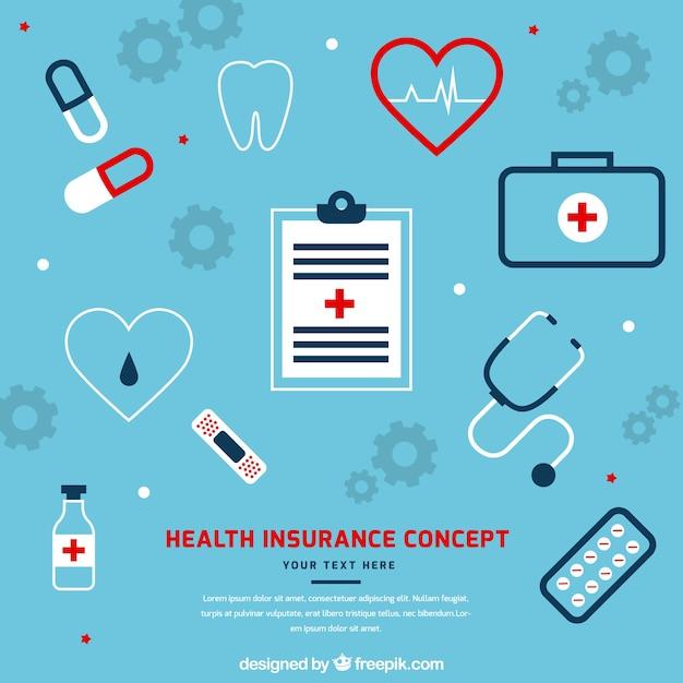 Cool conceito de seguro de saúde Vetor grátis