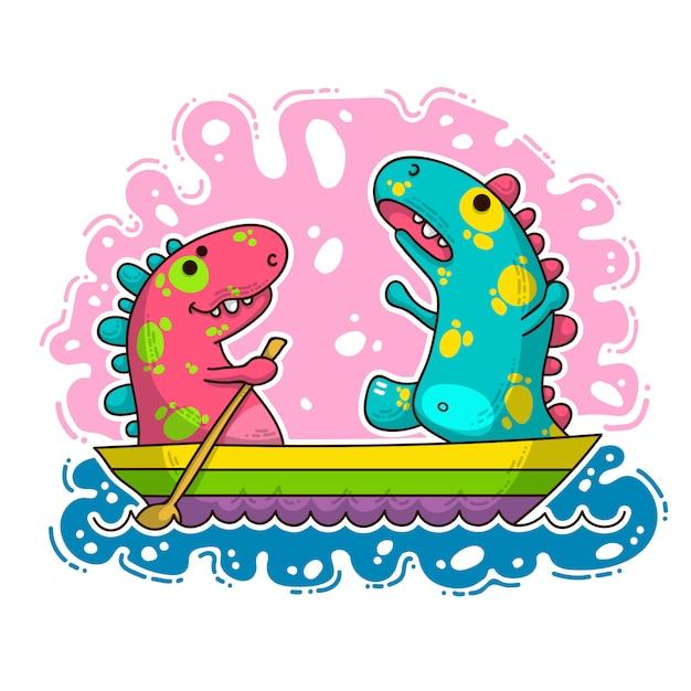 Cool dino doodle ilustração Vetor Premium