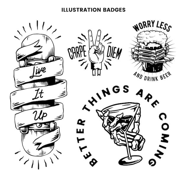 Cool retro vetor de emblemas motivacionais Vetor grátis