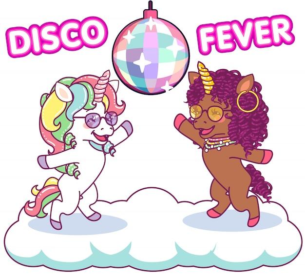 Cool unicórnios dançando na discoteca sob o mirrorball, febre dos anos 70 discoteca Vetor Premium