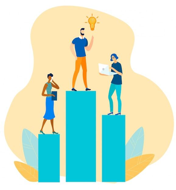 Cooperação, criação de idéias e marketing digital Vetor Premium