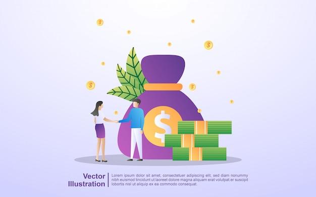 Cooperação entre homens e mulheres, investimento empresarial, obtém lucros com negócios, cooperação e trabalho em equipe. Vetor Premium