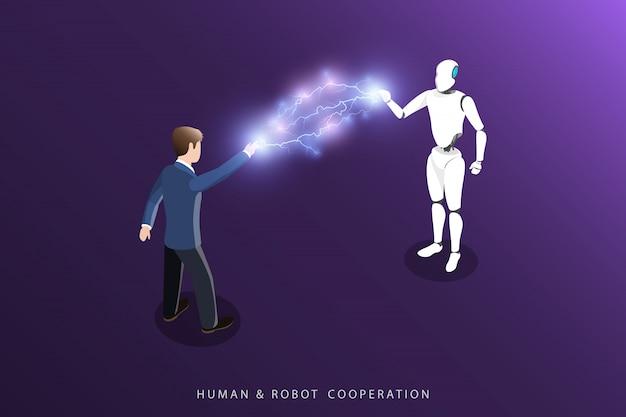Cooperação humana e robô plano isométrico vector. Vetor Premium