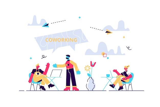 Cooperação produtiva, organização do trabalho, freelance e terceirização. coworking de freelancers, trabalho em equipe e comunicação, conceito de atividade independente. ilustração criativa conceito isolado Vetor Premium