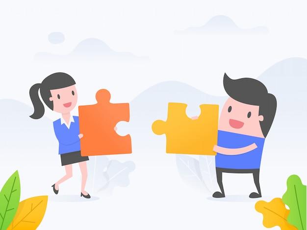 Cooperação. Vetor Premium