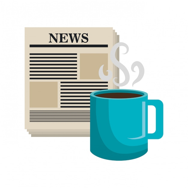 Copa de notícias dos desenhos animados café isolado Vetor Premium