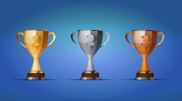 Copa dos vencedores prêmio para primeiro, segundo e terceiro vencedores posição sobre um fundo azul Vetor Premium