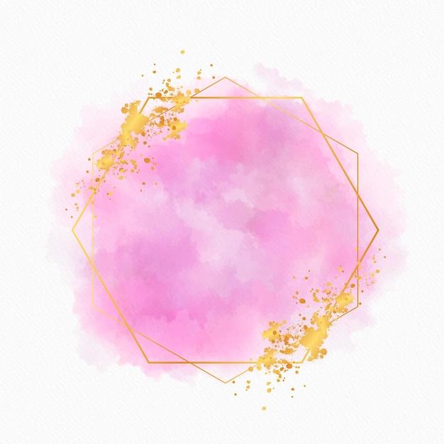 Copiar espaço aquarela moldura dourada Vetor grátis