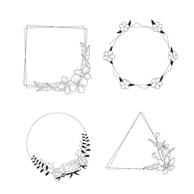 Copie a coleção desenhada à mão com moldura floral Vetor grátis
