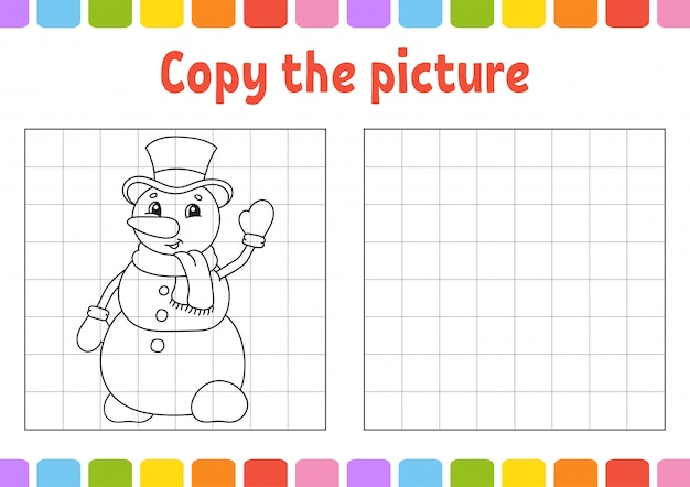Copie a imagem. páginas do livro de colorir para crianças. planilha de desenvolvimento de educação. Vetor Premium