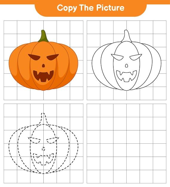 Copie a imagem, trace e cor, jogo educativo para crianças, planilha para impressão, ilustração Vetor Premium