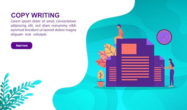 Copie o conceito da ilustração da escrita com caráter. modelo de página de destino Vetor Premium