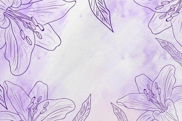 Copie o espaço mão desenhada fundo pastel flores Vetor grátis