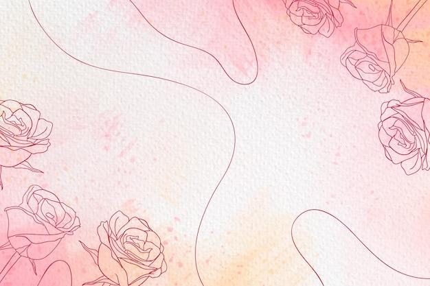 Copie rosas e linhas de fundo em aquarela Vetor grátis