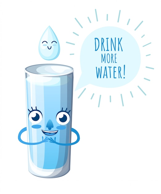 Copo com água. personagem de estilo. mascote com cara feliz. beba mais água. ilustração em fundo branco. página do site e aplicativo para celular Vetor Premium
