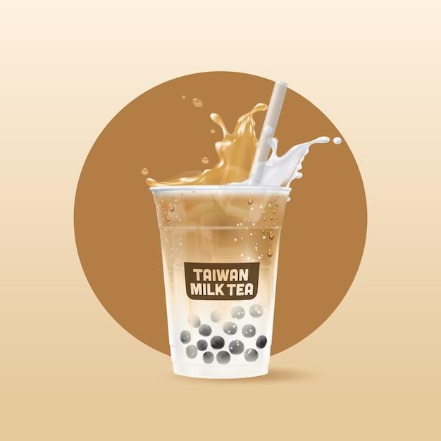 Copo de bebida de chá gelado realista Vetor Premium