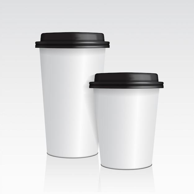 Copo de café de papel realista. conjunto de 3d xícara de café mock-se modelo vetorial Vetor Premium
