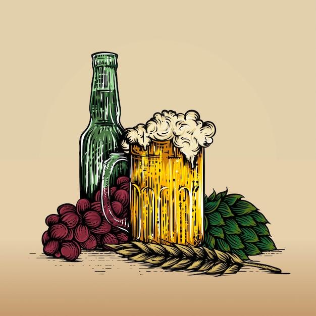 Copo de cerveja, garrafa, uva e lúpulo. vindima, gravura, ilustração, para, teia, cartaz, convite, para, festa Vetor Premium