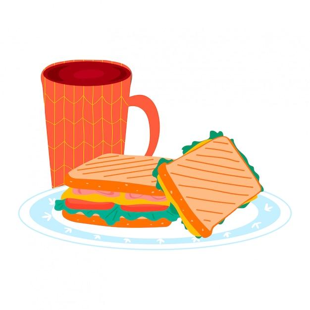 Copo de chá com os gêneros alimentícios do sanduíche do café da manhã na placa da cozinha, no presunto do hamburguer do pão e no almoço do queijo isolado no branco, ilustração dos desenhos animados. Vetor Premium