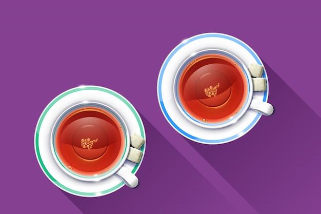 Copo de chá Vetor Premium