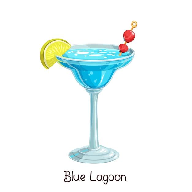 Copo de cocktail lagoa azul com fatia de limão e cereja em branco. bebida de álcool de verão de ilustração a cores. Vetor Premium