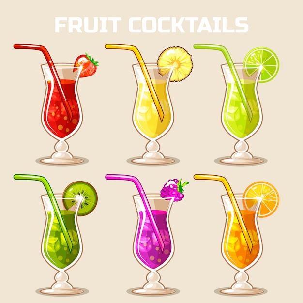 Copo de coquetéis de frutas frias com gelo Vetor Premium
