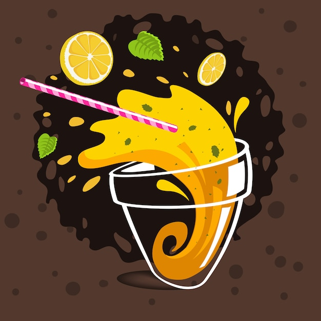 Copo de derramar limonada fazendo splash voando limões fatiados, Vetor Premium