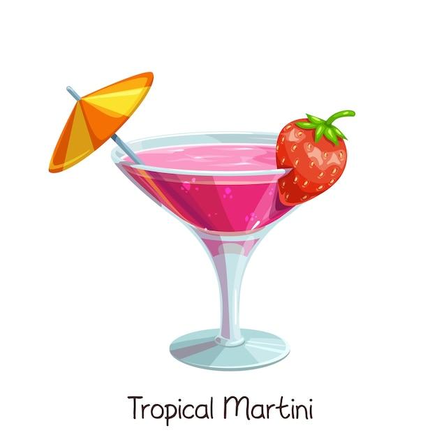 Copo de martini tropical com morangos e guarda-chuva em branco. bebida de álcool de verão de ilustração a cores. Vetor Premium