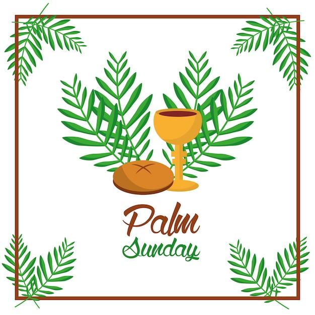 Copo de pão de palma domingo e folhas de decoração de moldura de árvore Vetor Premium