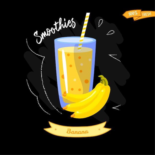 Copo de smoothies em fundo preto. banana. design de verão - bom para o design do menu Vetor Premium