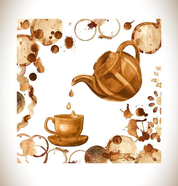 Copo de tinta café, salpicos e harts Vetor Premium