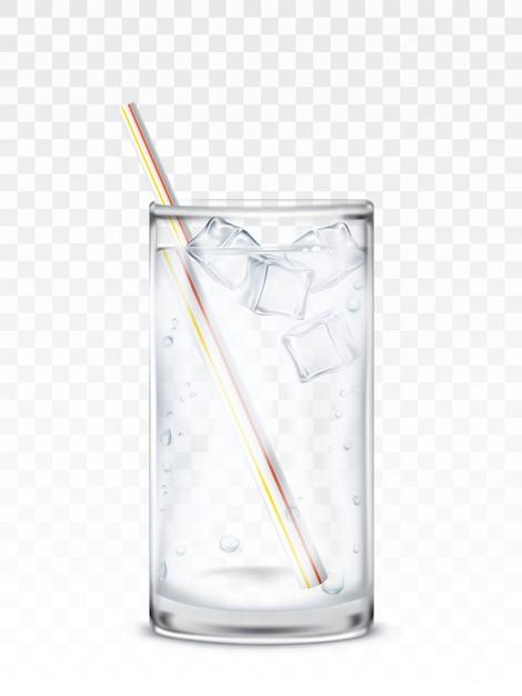 Copo de vidro com água, cubos de gelo e uma palha Vetor grátis