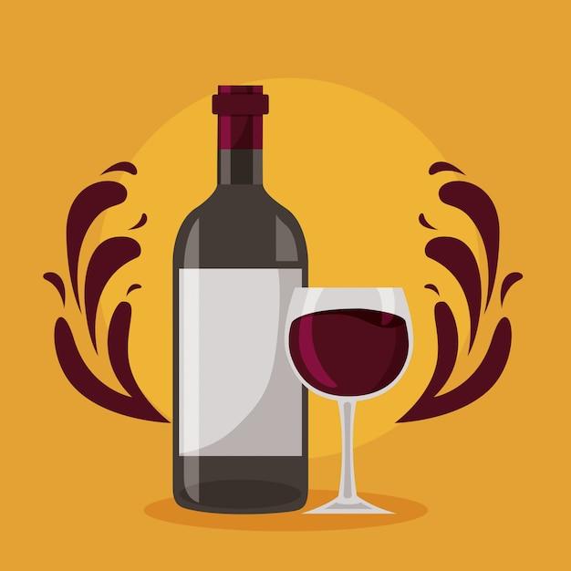 Copo de vidro de garrafa de vinho espirra Vetor grátis