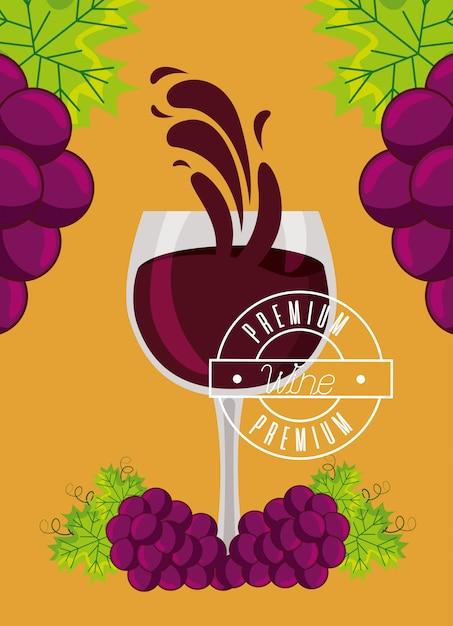 Copo de vinho cacho de uvas frescas Vetor grátis