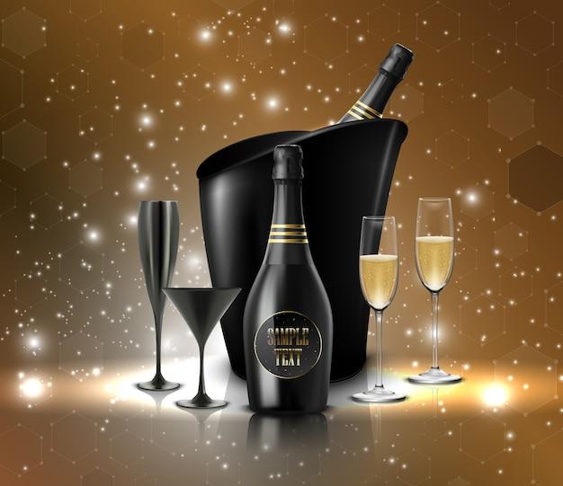 Copo de vinho com uma garrafa de champanhe Vetor Premium