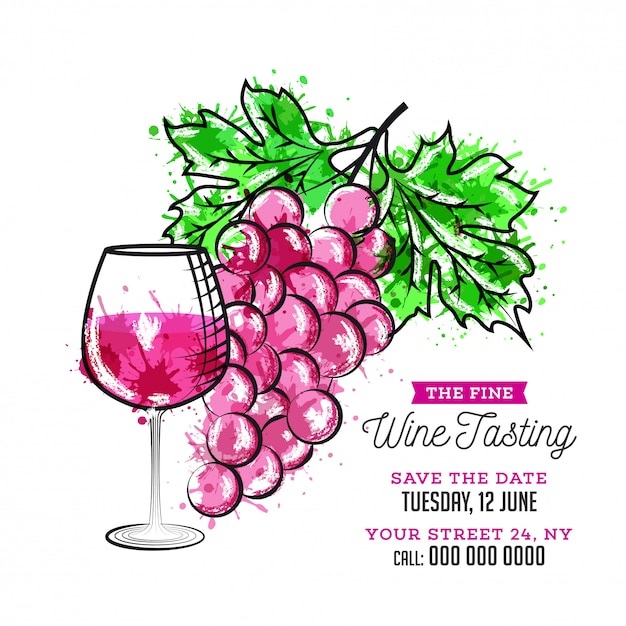 Copo de vinho de estilo simples e uvas ilustração em fundo branco para degustação de vinhos Vetor Premium
