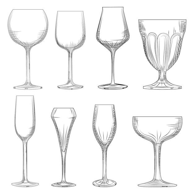 Copo de vinho diferente. mão desenhada espumante vazio, champanhe e vinho Vetor Premium