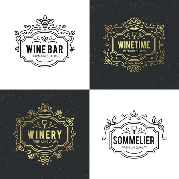 Copo de vinho e uvas vintage letras fundo Vetor grátis