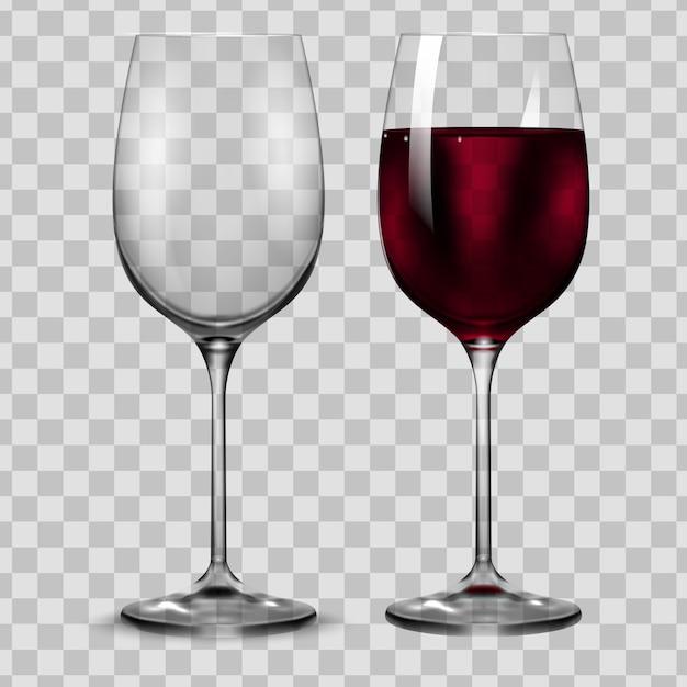 Copo de vinho tinto de transparência vazia e completa. Vetor Premium
