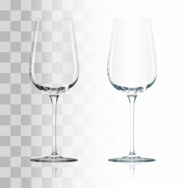 Copo de vinho transparente bebendo vazio Vetor grátis