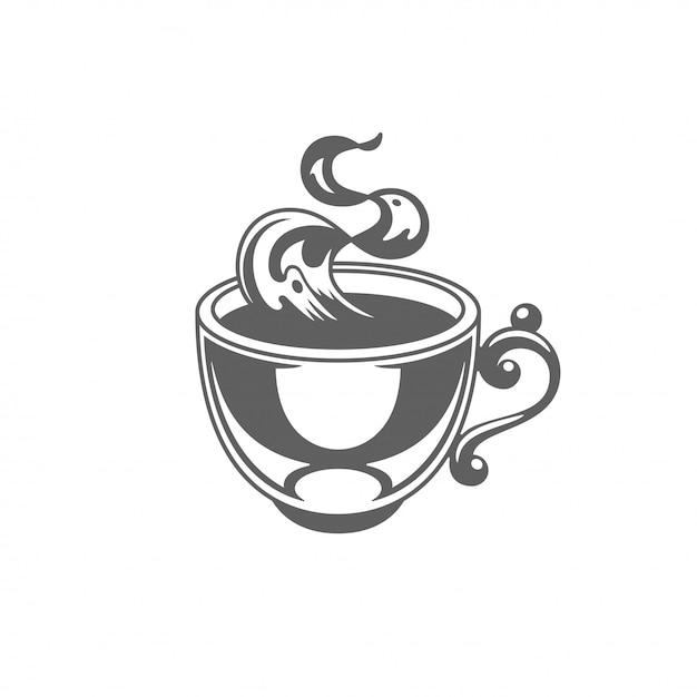 Copo do café ou de chá com ilustração do vetor do vapor. Vetor Premium