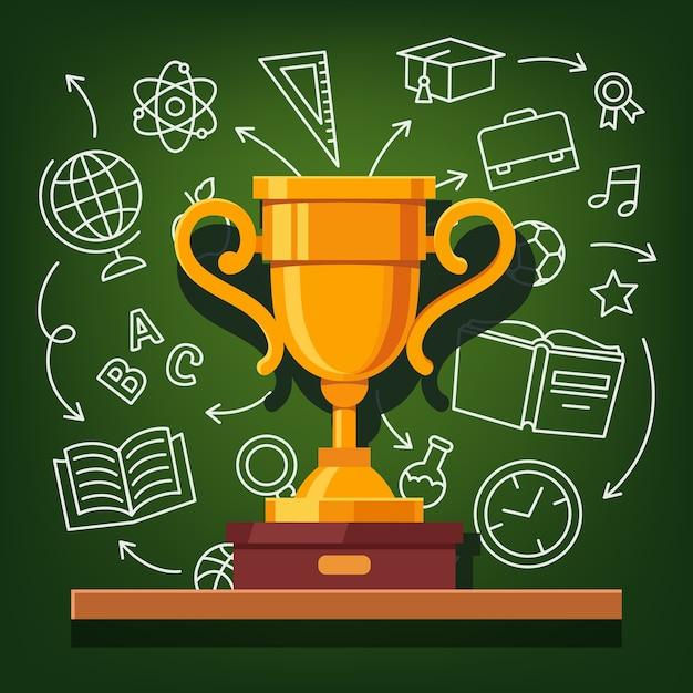 Copo dourado de sucesso educacional Vetor grátis