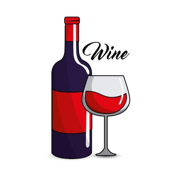 Copo e garrafa de vinho ícone Vetor Premium