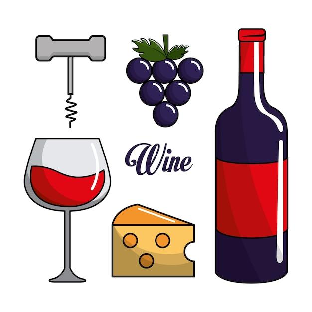 Copo, garrafa de vinho, uva, queijo e tirar cortiça Vetor Premium