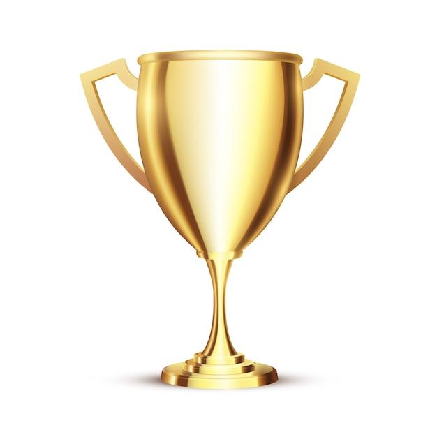 Copo realista dourado do vencedor 3d. Vetor Premium