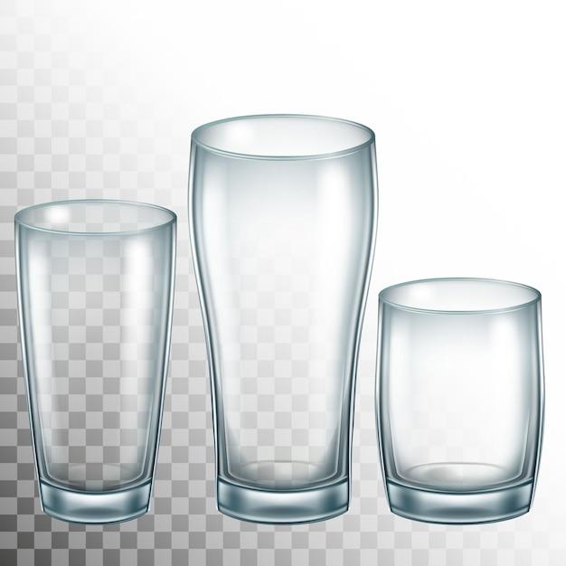 Copo vazio de vidro bebendo. vidro transparente. Vetor Premium