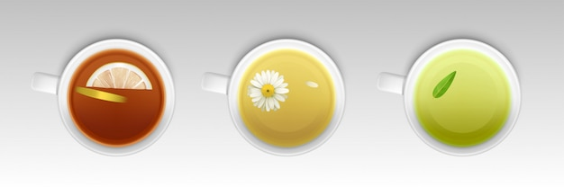 Copos com chá de ervas, bebida saudável e quente Vetor grátis