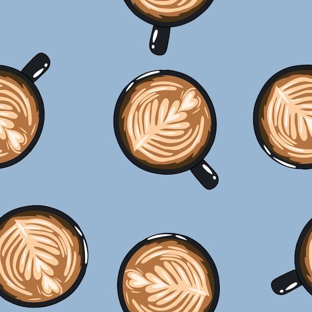 Copos de café. mão desenhada bonito dos desenhos animados canecas sem costura padrão. fundo de textura Vetor Premium