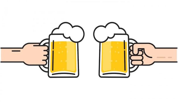 Copos de cerveja nas mãos com espuma torcendo ilustração Vetor Premium