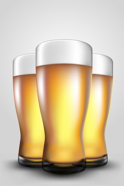Copos de cerveja Vetor Premium